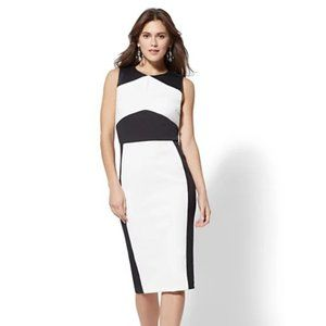 NY&CO Faux-Leather Colorblock Sheath Dress M